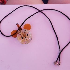 Hand blown glass mouse necklace